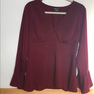 City Chic XS (14) burgundy blouse